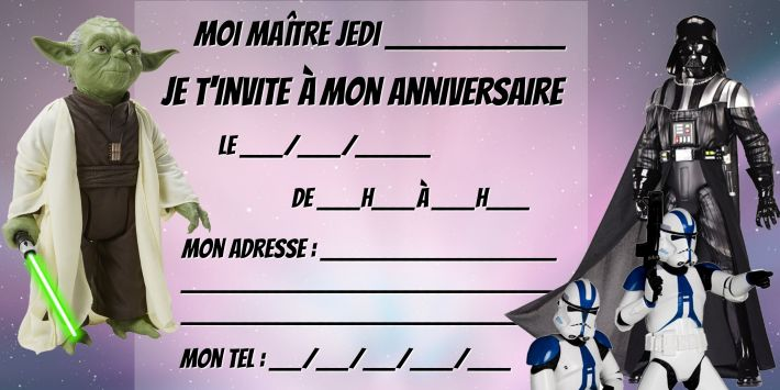 carte d invitation anniversaire star wars