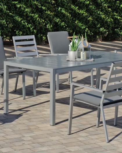 salon de jardin table turilla 200 8 fauteuils turilla 3 gris clair avec coussins complet gris fonc