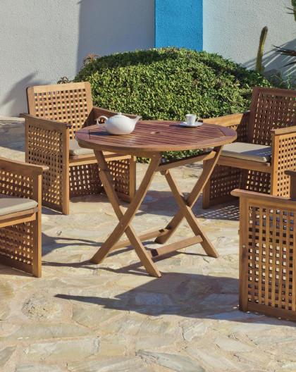 achat vente salon de jardin lux bois de sal table o90cm 4 fauteuils hevea mobilier de jardin