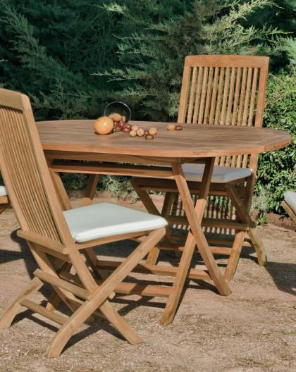 achat vente salon de jardin bois teck table 140cm 4 chaises hevea mobilier de jardin