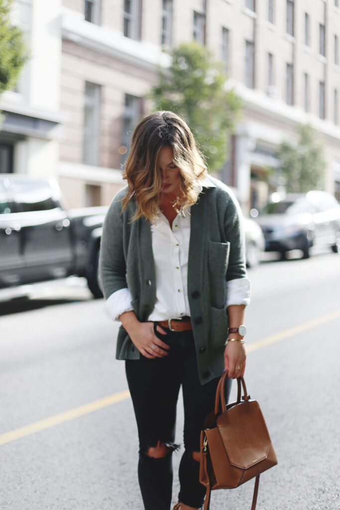 To Vogue or Bust shares fall 2016 trend tips in a White and Warren cashmere cardigan, Peau de Loup oxford shirt, Mavi skinny jeans, Aritzia bega bag, Daniel Wellington watch and Nine West leopard heels