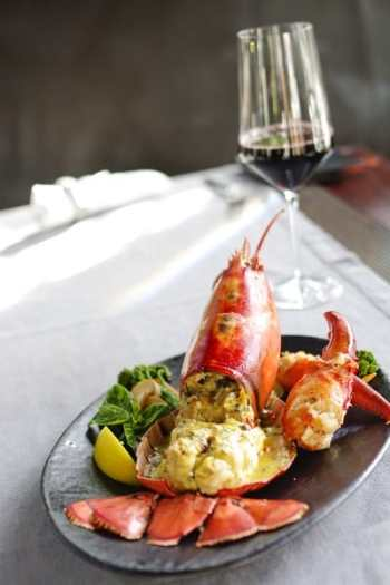 red wine with seafood