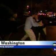 Gay Men with Rainbow Flag Attacked by Republican on Election Night