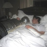 Sportrait: Sidney Crosby Sleeping with the Stanley Cup
