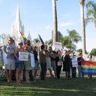 Gay Activists Hold 'Kiss-In' at San Diego's Mormon Temple