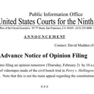 9th Circuit to Rule Tomorrow on Release of Prop 8 Case Videotapes