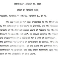 Supreme Court Stays 4th Circuit's Ruling On Virginia Gay Marriage Ban