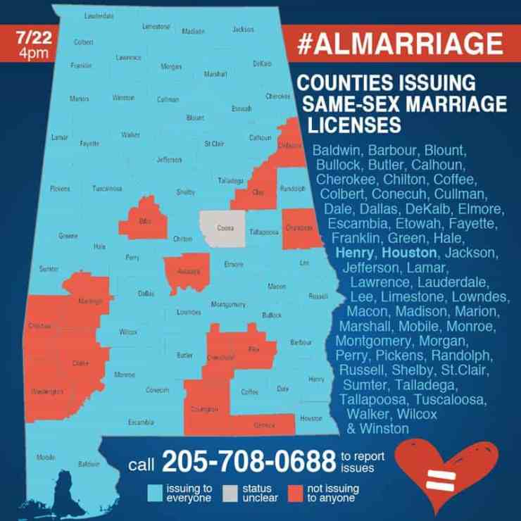 counties in alabama issuing same sex marriage licenses in Sacramento