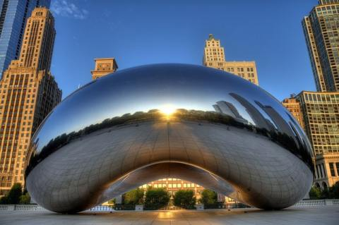 "The Cloud Gate (or ""Bean"") in Millennial Park, Chicago, ManAboutWorld gay travel magazine"