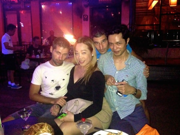 Drinks at the Silom gay bars in Bangkok with Girard and Regina