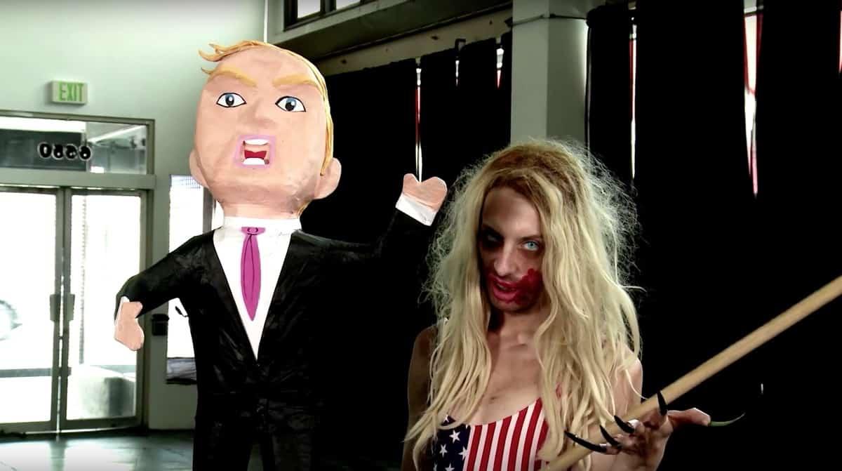 Alaska Destroys a Donald Trump piñata
