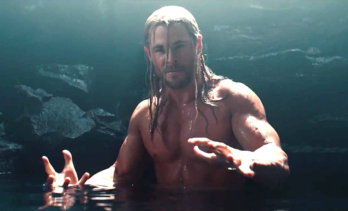 Shirtless Chris Hemsworth  as Thor