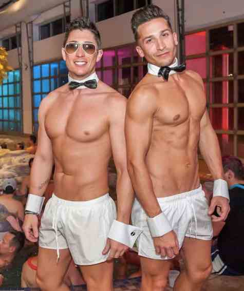 Chippendale style ski buffs at Aspen Gay Ski Week as seen at Towleroad and in ManAboutWorld