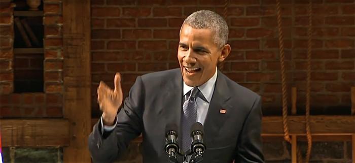 President Obama mocks