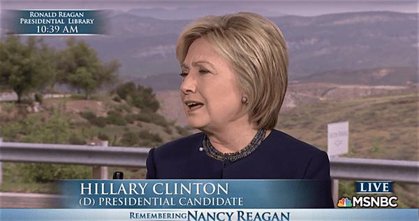 Hillary Clinton Praises Nancy Reagan for 'Effective, Low ...