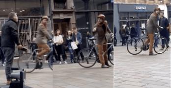 cyclist street preacher