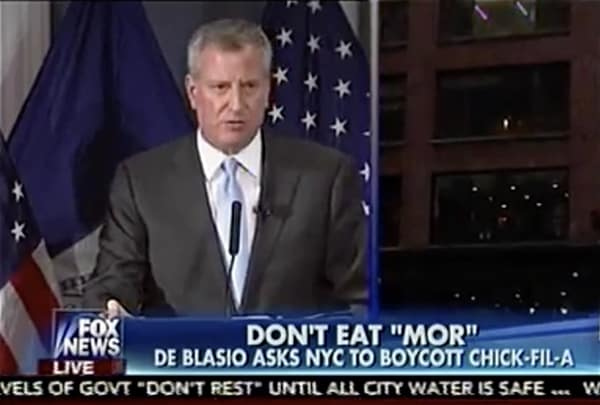 Bill de Blasio NYC Chick-fil-a