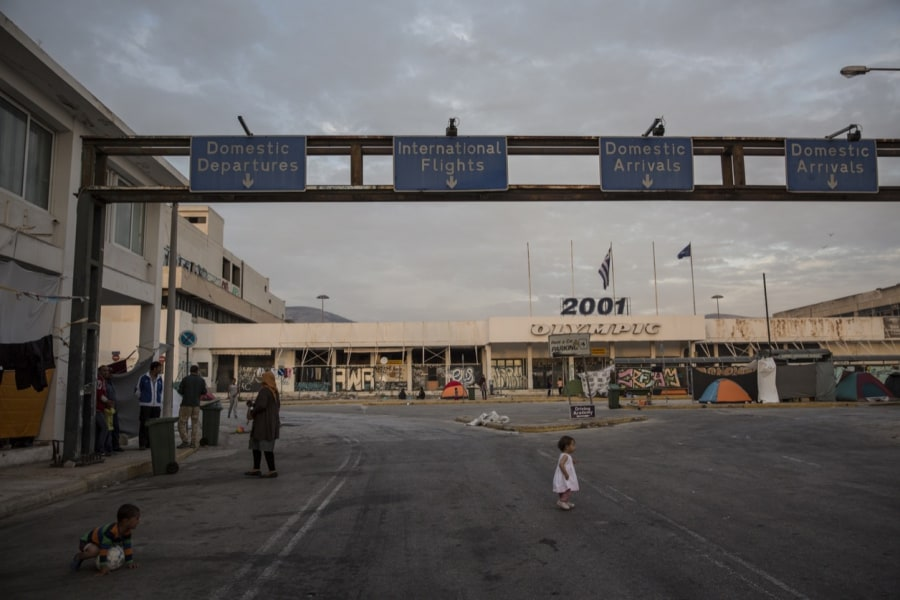 A scene from the disused Hellinikon airport, now an informal shelter for thousands of migrants. (Credit: Jodi Hilton/Pulitzer Center)