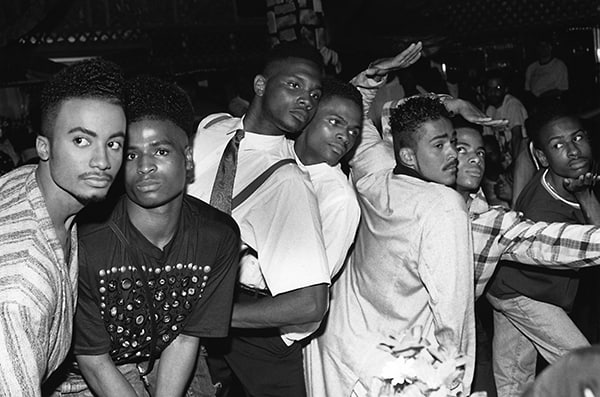 From left, Whitney Elite, Ira Ebony, Stewart and Chris LaBeija, Ian and Jamal Adonis, Ronald Revlon, House of Jourdan Ball, New Jersey, photo by Chantal Regnault. Courtesy Chantal Regnault