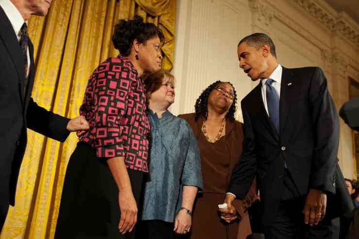 President Barack Obama greets Louvon Harris, left, Betty Byrd Boatner, right, both sisters of James Byrd, Jr., and Judy Shepard, center, mother of Matthew Shepard, following his remarks at a reception commemorating the enactment of the Matthew Shepard and James Byrd Jr. Hate Crimes Prevention Act, in the East Room, of the White House, October 28, 2009. (Official White House Photo by Pete Souza) This official White House photograph is being made available only for publication by news organizations and/or for personal use printing by the subject(s) of the photograph. The photograph may not be manipulated in any way and may not be used in commercial or political materials, advertisements, emails, products, promotions that in any way suggests approval or endorsement of the President, the First Family, or the White House.