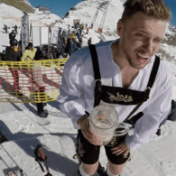 Gus Kenworthy Chugs Beer, Ski Jumps in Lederhosen, Then Vomits – WATCH