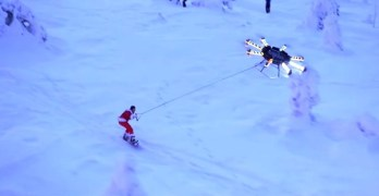 drone snowboarding
