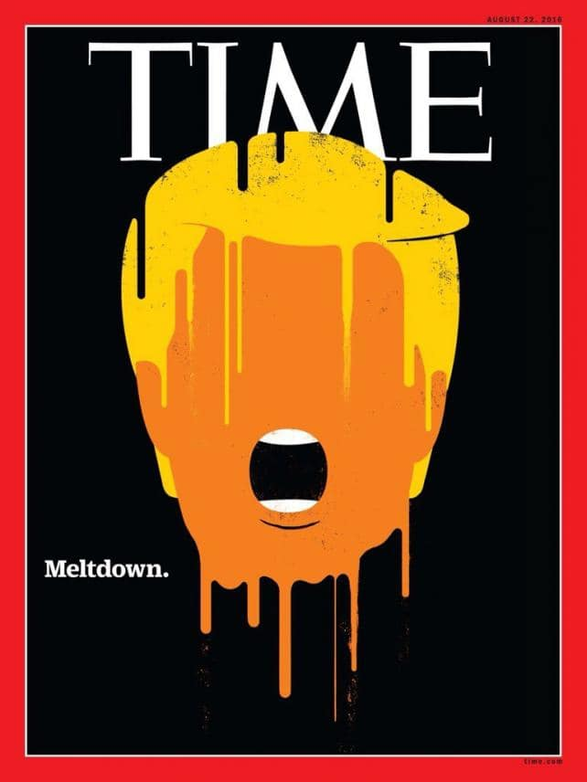 "Edel Rodriguez's ""Meltdown"" illustration of Donald Trump for Time's cover is shown here. Credit: Time magazine"
