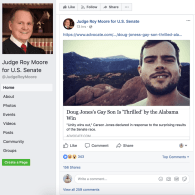 Roy Moore Prompts His Supporters to Attack Doug Jones' Gay Son in Bitter Wake of Election Loss