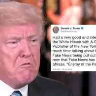 Trump Blabs About Meeting at Which NYT Publisher Warned Him 'Fake News' and 'Enemy of the People' Rhetoric is 'Dangerous'