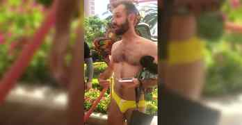 Encore Beach club gay man speedo chris donohoe