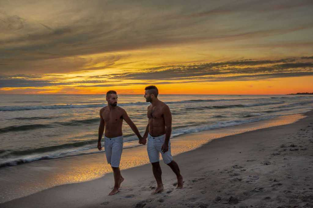 Gay couple on Fort Lauderdale gay beach