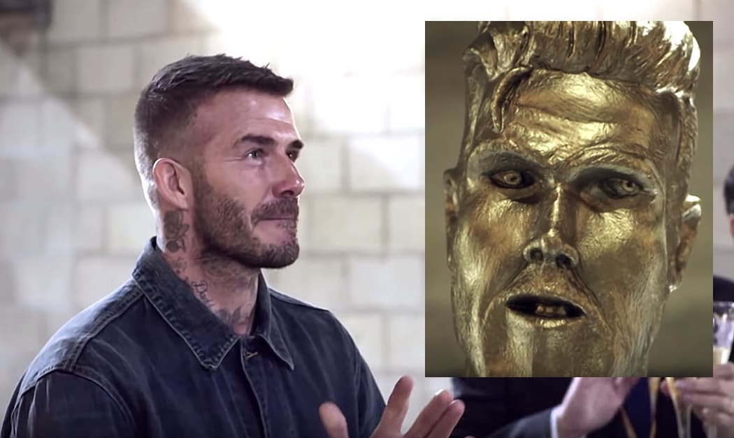 David Beckham Pranked by James Corden With Fake LA Galaxy Statue