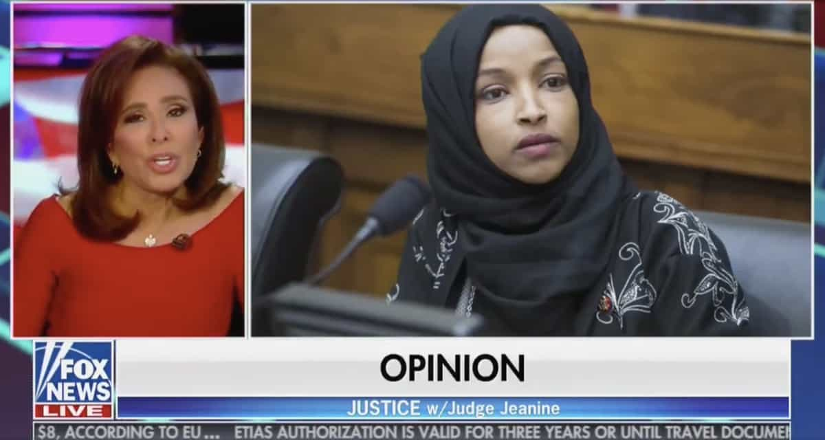 Omar thanks Fox News for rejecting host Jeanine Pirro's hijab comments