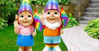 Gay Pride garden gnomes