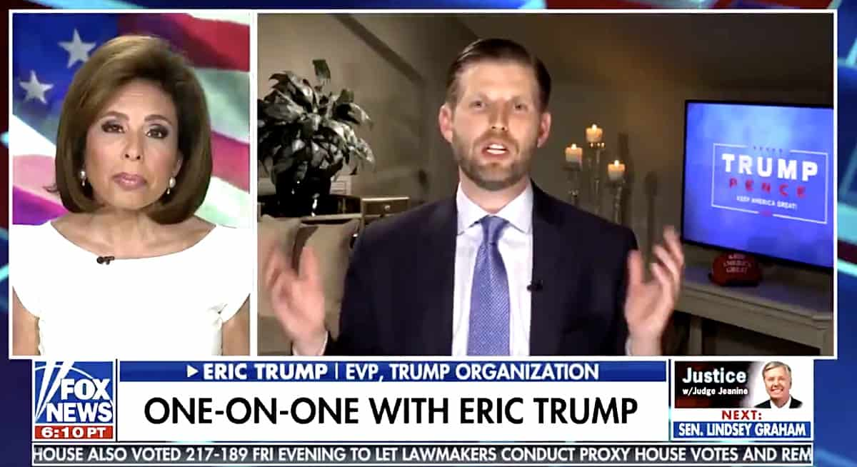 Eric Trump says Democrats 'trying to milk' coronavirus shutdown, media 'stoking fear'