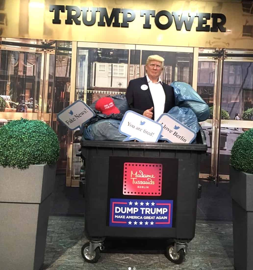 Madame Tussauds Museum Puts Wax Figure of Trump in Dumpster: 'Making Room for the Next President' - Towleroad Gay News