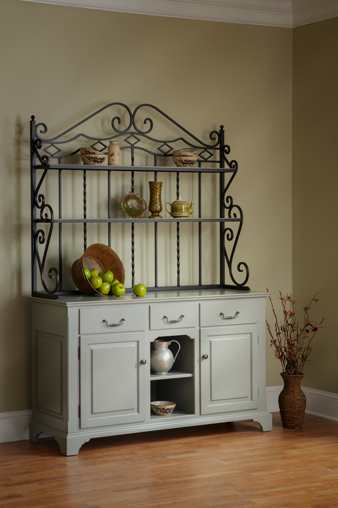 open front buffet with baker s rack