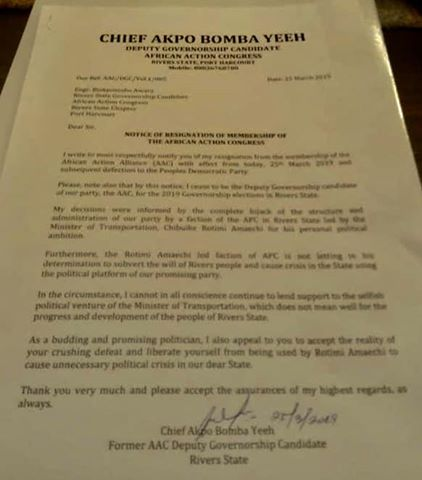 Deputy Governorship Candidate Of Governor Wike's Main Rival Akpo Bombs Yee Dumps AAC Decamps To PDP