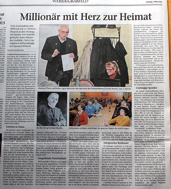 """Press about Eberhard Pfister Meininger Tageblatt, 07.03.2015 """"Millionär mit Herz"""""""