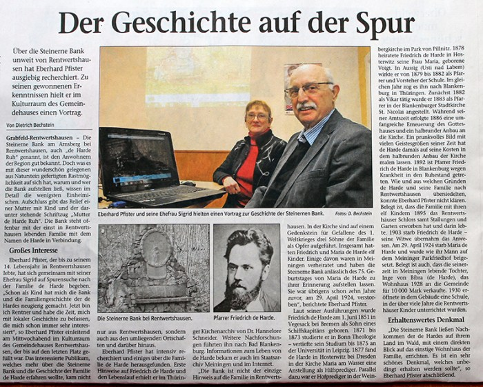 "Press about Eberhard Pfister Meininger Tageblatt, 08.02.2014 ""Steinerne Bank"""