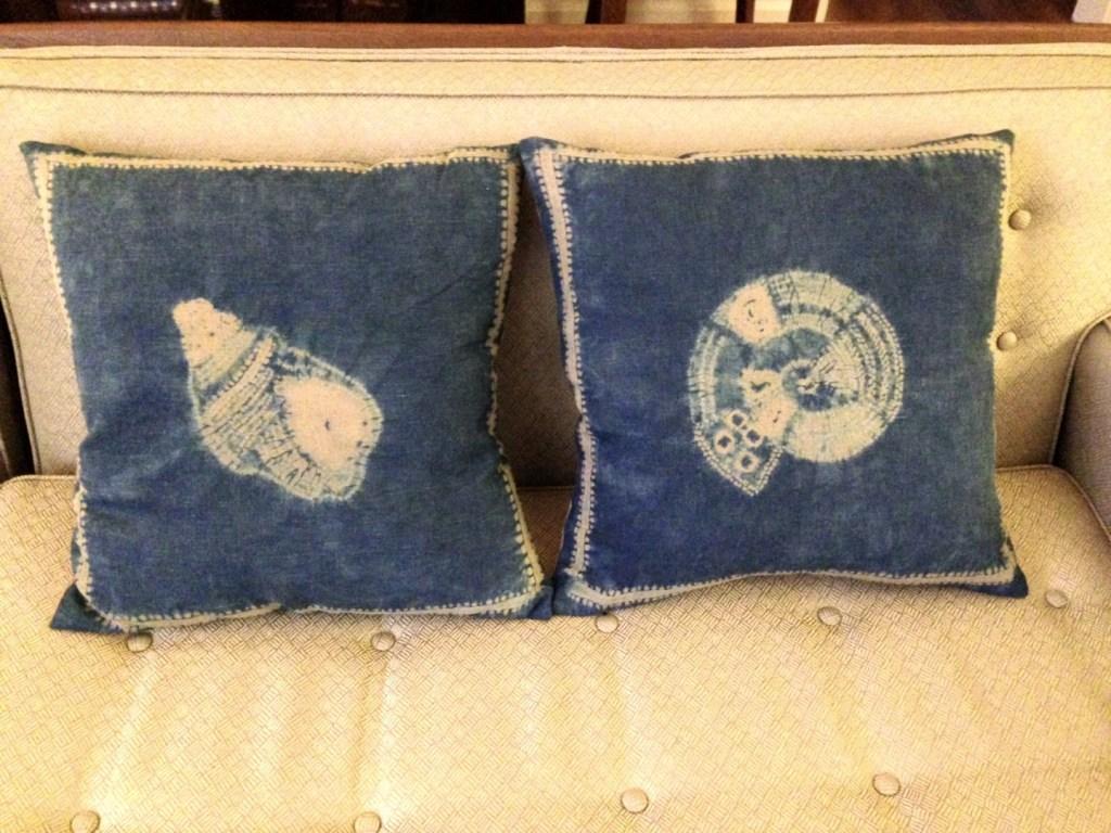 Shibori patterned cushions