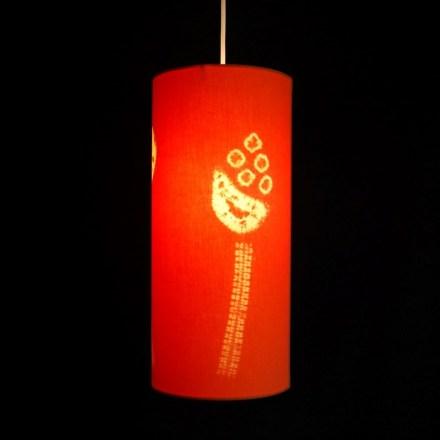 3 seed heads orange lampshade 1