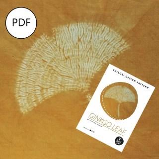 Shibori ginkgo leaf on gold with PDF pattern cover