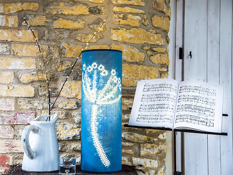 Hogweed lamp 60 x 20cms indigo dyed