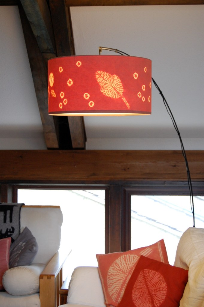 Leaf and flower madder dyed drum lampshade