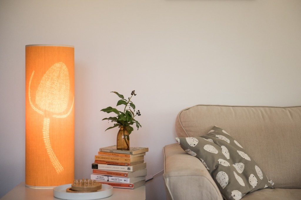 Orange teasel table lamp
