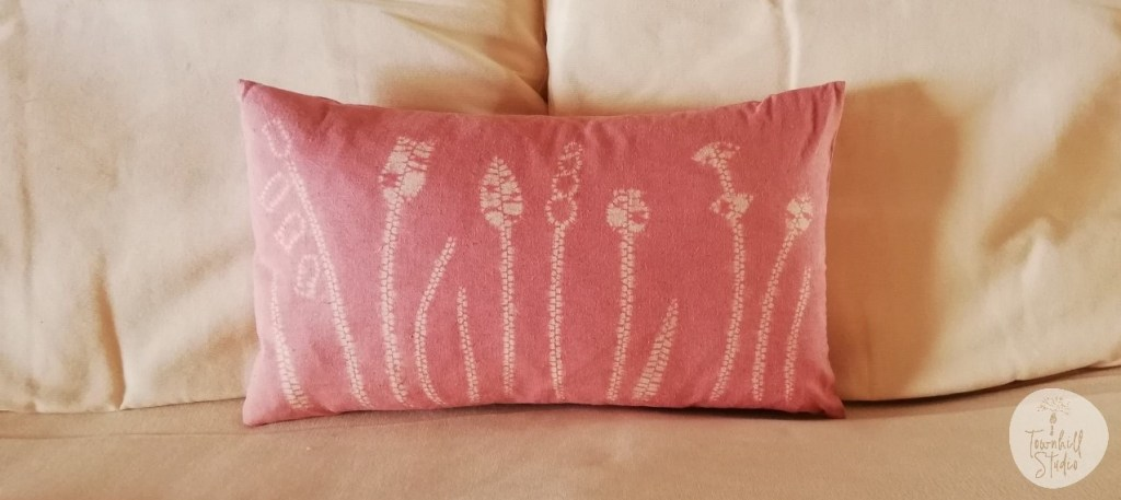 a madder dyed ori nui patterned cushion
