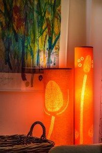 Two orange lamps