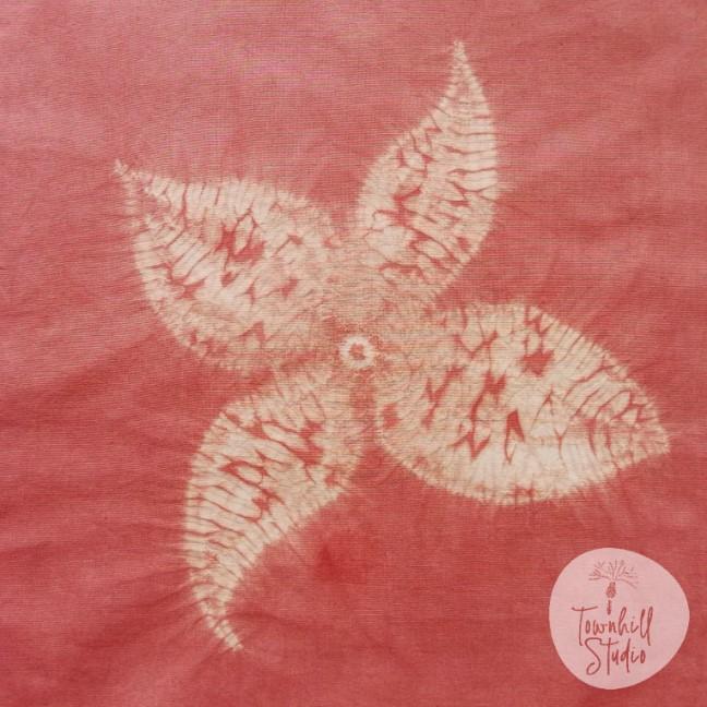 madder dyed shibori flower