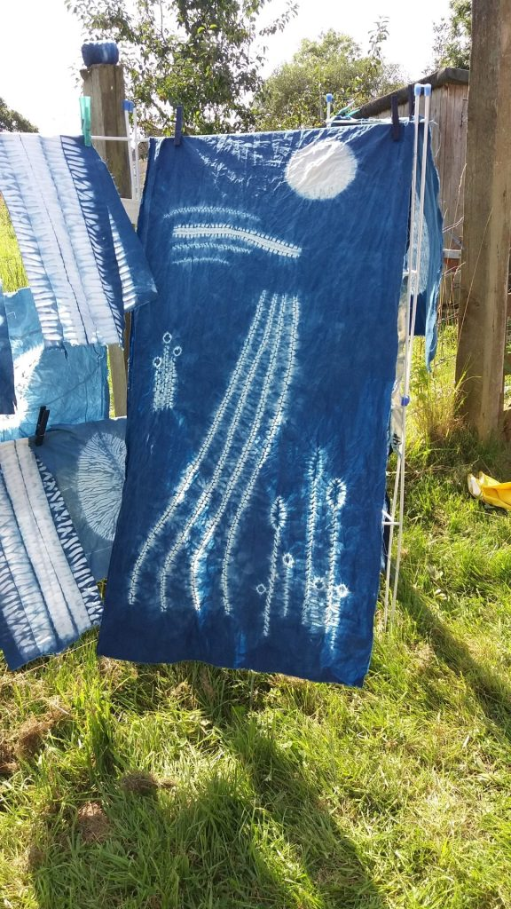 Shibori landscape hanging at Kingcombe